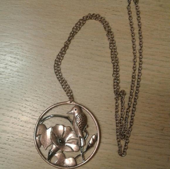 Vintage metal/copper Bird Floral Necklace